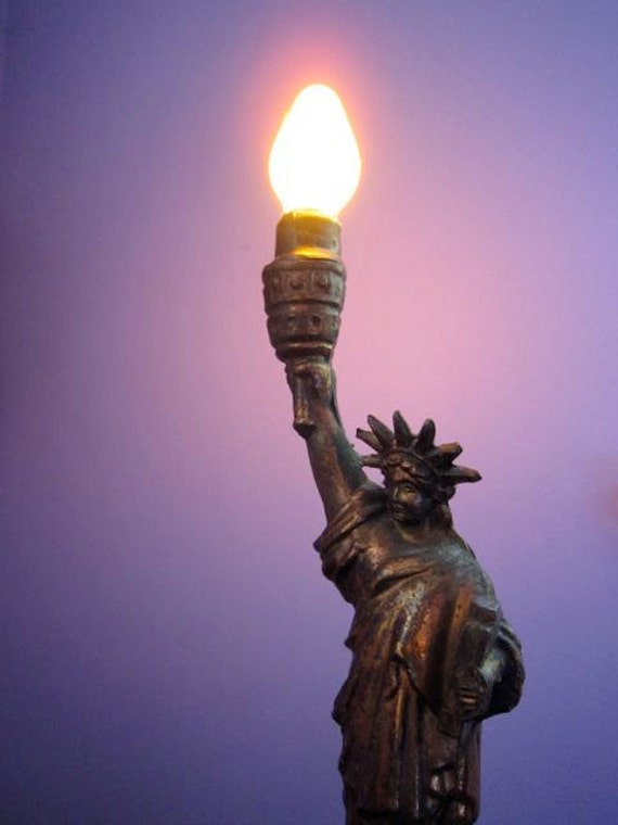 1940s Vintage Statue Of Liberty Lamp Night By Myromanapartment