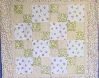 """Sale!!  Quilted Floral and Feminine, 35"""" x 35"""" Table Topper, Moda Fabrics"""