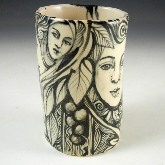 black and white porcelain hand painted story cup