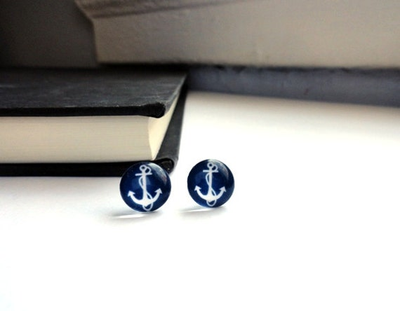 Anchor earrings - stud, post in navy blue and white - nautical jewelry gift for her  under 25 , spring summer Valentine's Day