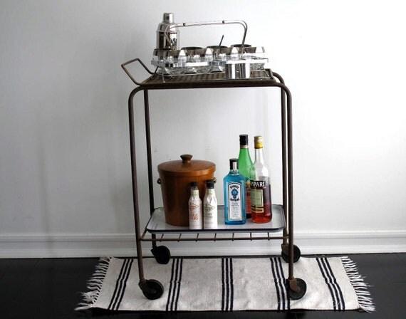 RESERVED Vintage Metal Rolling Cart- Bar Cart - Industrial Distressed Furniture