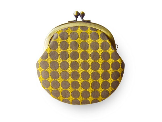 Lined Yellow Circle Coin Purse
