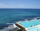 """4""""x 6"""" Photo of people swimming in the turqoise water of ocean pool in the blue Pacific Ocean waves at Bondi Beach in Australia in summer"""