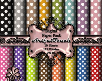 "Digital Paper, Polka Dot Digital Background, Polka Dot Digital Paper, 16 Digital Scrapbook Paper Pack (12"" X 12"" - 300 DPI) Polka Dot (3)"