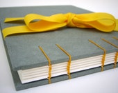 Gray Wedding Guest Book - Coptic Stitch Binding, Hand Bound Book, Gray and Yellow, Made to Order