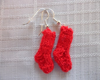 Knit Sock Earrings Red Socks Earrings Sock Earrings Sport Earrings Team Earrings Red Sock Valentine Earrings Christmas Sock Earrings