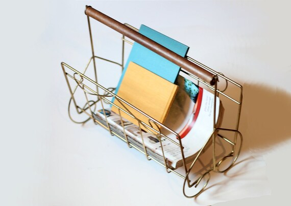 Vintage Wire Magazine Rack - Mid Century Retro Metal Holder and Organizer - Vintage Storage and Organization for Crafter or Office Worker