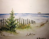 Christmas Shore, Print of Original Watercolor Painting, watercolor landscape winter beach painting, Christmas Tree holiday wall decor.