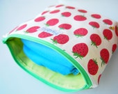 Zippered Pouch / Nappy or Diaper Case - Strawberries