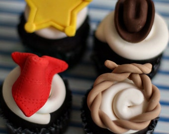 Cowboy Fondant Hat, Lasso, Bandana, and Sheriff Badge Toppers for Cupcakes, Cookies or other Treats
