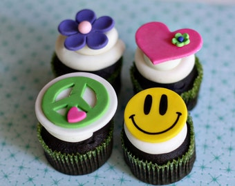 Peace Sign, Flower, Heart and Smiley Hippie Fondant Toppers for Decorating Groovy Cupcakes, Cookies or other Treats