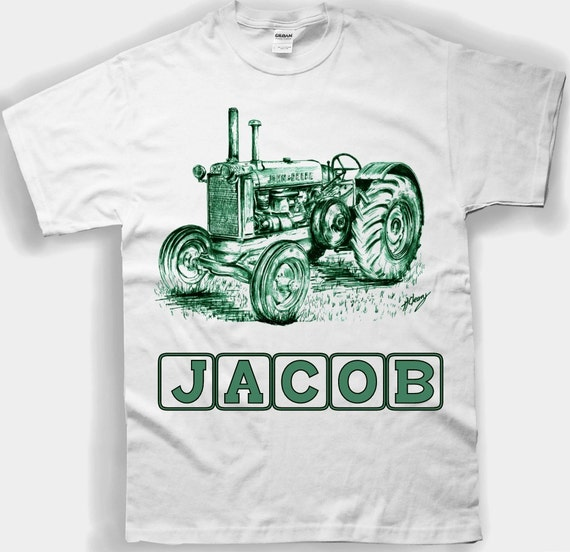 """John Deere Tee shirt for Youth & Toddlers """" ADD A NAME """" . Personalized Kids Tractor Shirt"""