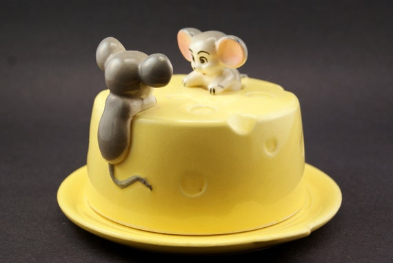 Vintage Mouse Cheese Plate Server with Cover