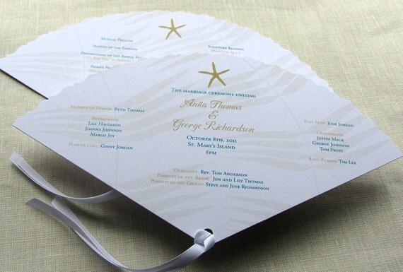 Starfish Wedding Program Beach Fan Ceremony Program Palm