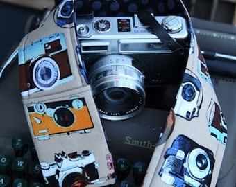 Retro Camera Print Inspired DSLR Padded Camera Strap Cover