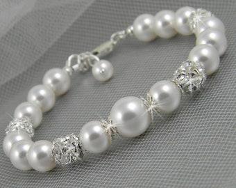 Pearl wedding Bracelet, Bridesmaids bracelet, Bridal jewellery, Swarovski pearls rhinestones, Sarah Bracelet
