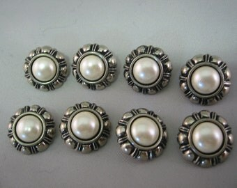 Antique silver tone button with pearl center Lot of 8 -Medium size - shank back