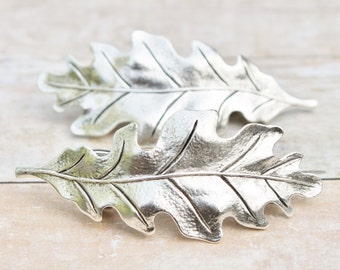 Silver Oak Leaf Hair Combs,Barrette or Hair Pins,Set of Two,Bridal,Bobby Pin,Woodland,Bridesmaids,Outdoor Wedding,Nature,Leaf,Shabby Chic