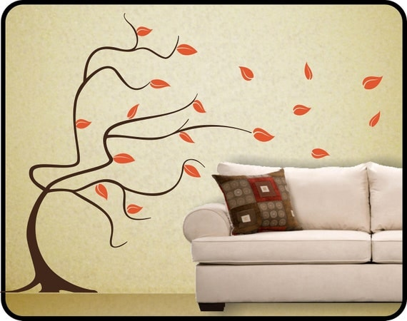 large whimsical BLOWING TREE & LEAVES Removable Vinyl Wall Decal mural