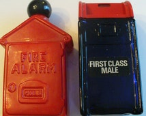 Vintage Avon Bottles Glass Red Fire Alarm Blue Mail Box First Class Male Toiletries Collectibles YourFineHouse ShipsInternationally