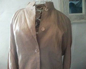 sale-ANTIQUE ROSE rami Nehru collar SHIRT, size M, mother of pearl buttons, embroidery