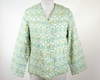 1970s Boho Ethnic Jacket Woven Tapestry Womens Size Large