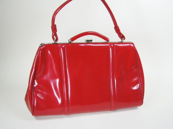60s Red Faux Patent Leather Purse Handbag