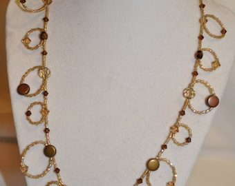 """20"""" Brown Loopy Necklace with Matching Earrings"""