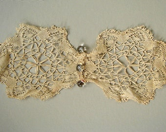 Vintage Ivory Crochet Doily with Glass Bead Weights