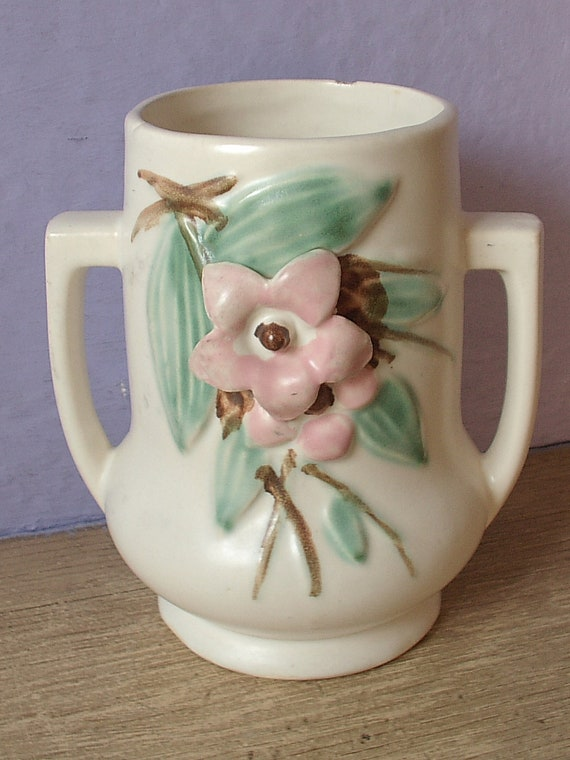 Antique 1940 S Mccoy Pottery Vase Blossom Time By
