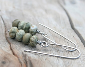 Stacked Olive Green Rhyolite Gemstone Earrings.  Hand Forged Sterling Silver Ear Wires.  Summer or Fall Jewelry Earrings.