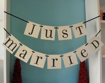 JUST MARRIED Double Banner Garland for Wedding/ Photo Prop/ Honeymoon Suite Decor CUSTOM