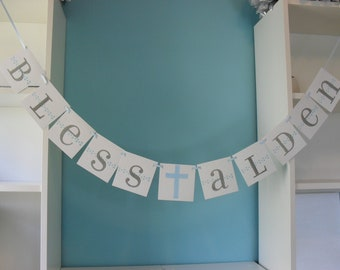 Baptism banner BLESS with your child's name - First Communion/Baby Shower/Christening - Custom colors available