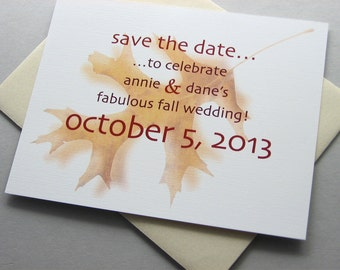 Fall Save the Date Card Autumn Wedding Oak Leaf Rust Gold Brown Modern Casual Bold Contemporary Informal Photograph