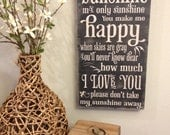 You are my sunshine - chalkboard illustrated typography - vintage style lettering