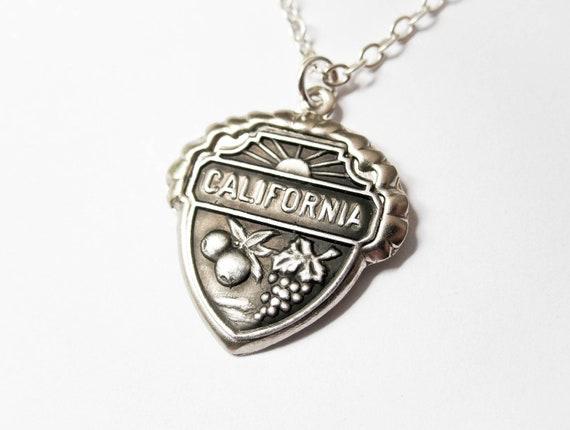 Vintage California Necklace - State Necklace - California State Souvenir