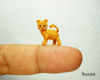 Tiny Crochet Kitty Cat - Micro Amigurumi Miniature Kitten Toy Stuffed Animal - Made to Order