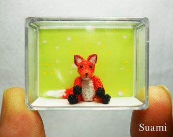 0.8 Inch Miniature Fox - Mini Amigurumi Crochet Tiny Animal Doll - Made To Order