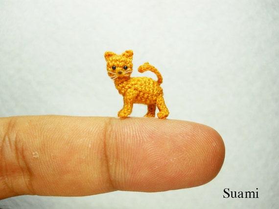 Tiny Crochet Kitty Cat - Micro Amigurumi Miniature Kitten Toy Stuffed Animal - Made to Order