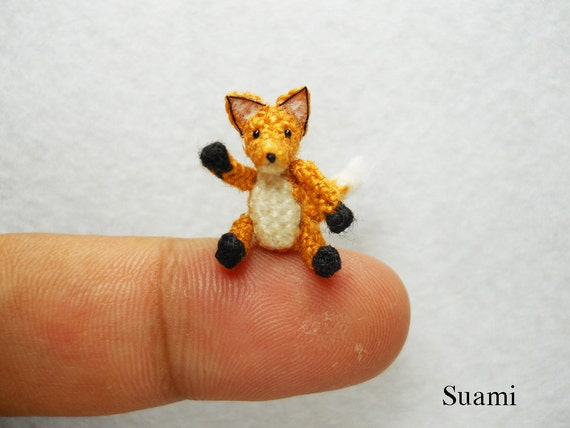 Cute Brown Fox - Micro Crochet Dollhouse Miniature Foxes - Made To Order