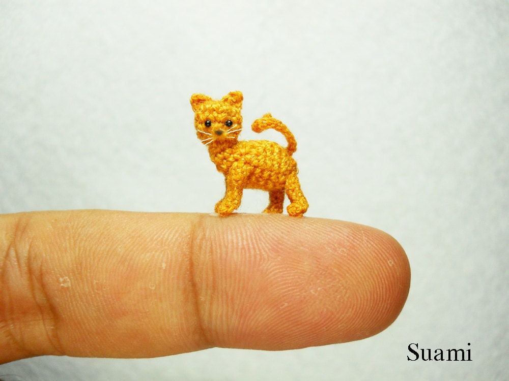 Micro Amigurumi Animal Patterns : Tiny Crochet Kitty Cat Micro Amigurumi Miniature Kitten Toy