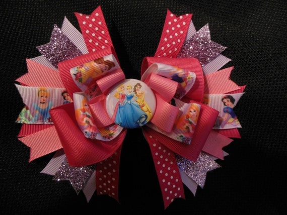 Disney princess inspired hairbow, large 5 inch boutique bow