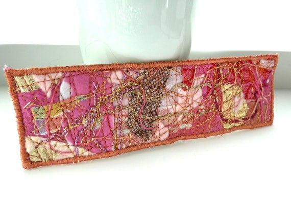 pink fabric bookmark - Mixed media material pink and gold bookmark in fibre, black felt back, silk cotton leather lace