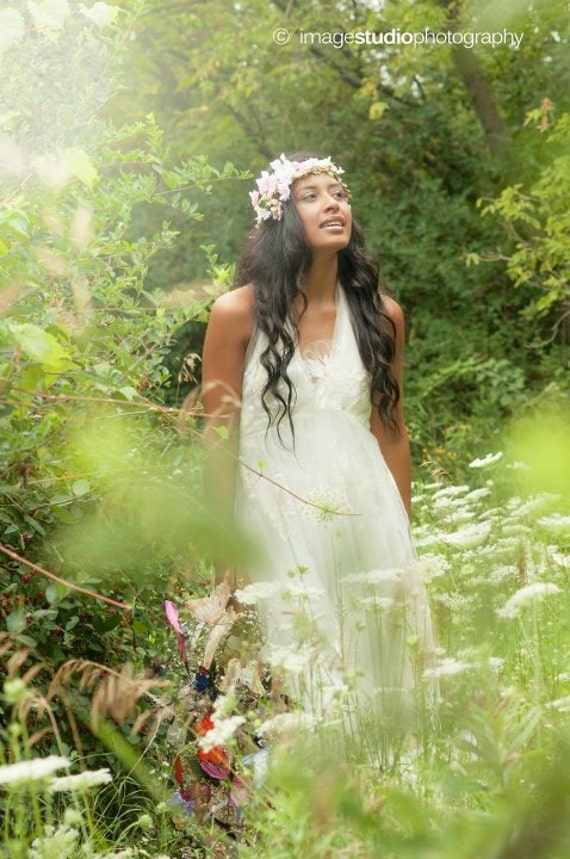 Hippie Chic Wedding Dresses : Handmade wedding dress bohemian chic hippie fairy halter bridal gown