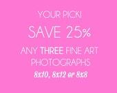 Any THREE 8x10, 8x12, 8x8 Fine Art Photographs, Discounted Print Set, Fine Art Pakcages, Fine Art Photography