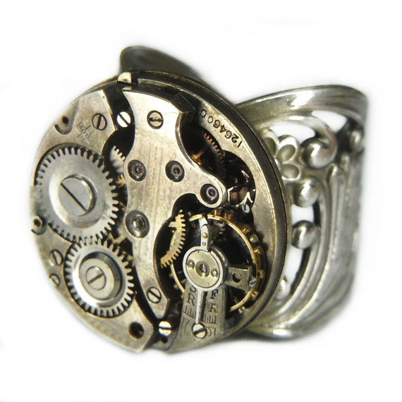 Men's STEAMPUNK Ring Jewelry - Watch Movement TORCH SOLDERED - Vintage Circular w/ Cool Patina and Bold Silver Band