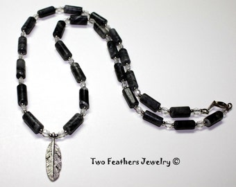 Feather Necklace - Marble Necklace - Black And Gray - Silver Feather Pendant - Gift For Her - Czech Glass Necklace - Beaded Necklace