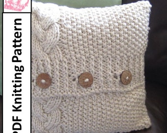 Cable knit pillow cover pattern, knit pattern pdf, Braided Cable super chunky 16 x 16 pillow cover - PDF KNITTING PATTERN
