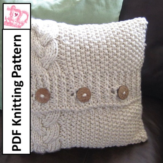 Knitting Pattern For Round Cushion Cover : Cable knit pillow cover pattern knit pattern pdf Braided