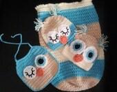 sleep sack with matching owl hats and winking owl bib
